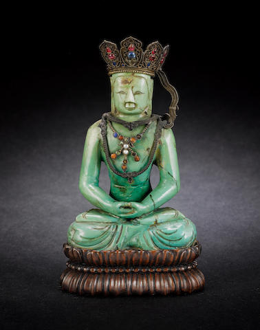 A mottled turquoise stone figure of Sakyamuni Possibly early Qing Dynasty