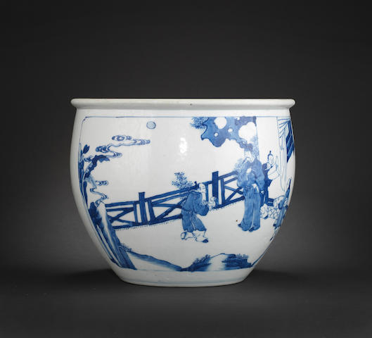 A blue and white fish bowl