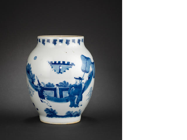 A blue and white oviform vase