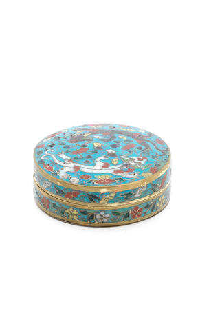 A cloisonné enamel 'chilong' box and cover Ming Dynasty