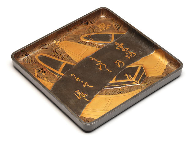 A lacquer square tray Style of Honami Koetsu, 17th century
