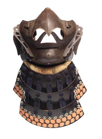 A karura menpo (mask) By Myochin Munetomo, mid Edo Period, 18th century