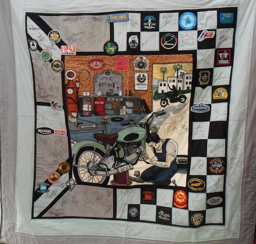 A memorial wall hanging patchwork signed by many riders and personalities, To be offered for sale on behalf of N.A.B.D. (National Association for Bikers with a Disability) Registered Charity No. 1040907 (England and Wales), SC039897 (Scotland), www.nabd.org.uk