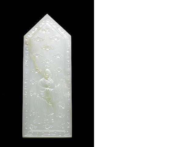 A green jade ritual sceptre, gui Qianlong six-character mark
