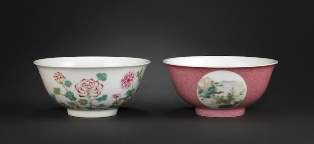 Two famille rose bowls One with Yongzheng four-character mark; the other Qianlong six-character mark
