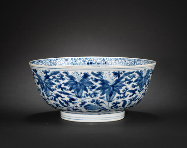 An elegant blue and white bowl Xuande six-character mark