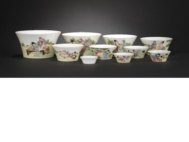 A set of ten graded famille rose, erotic bowls The largest bearing Jiaqing six-character seal mark
