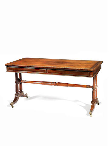 A Regency rosewood and brass inlaid library table  Gillows?