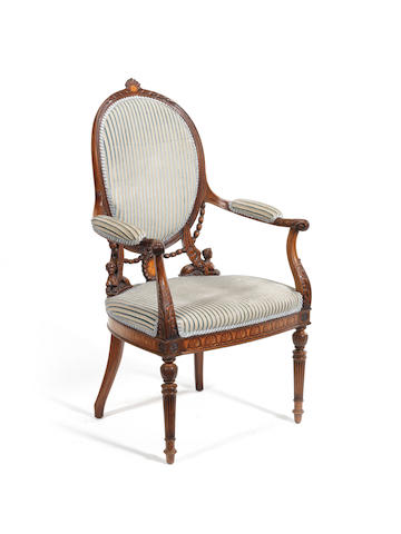 A George III style Adam Revival carved mahogany and sycamore marquetry open armchair