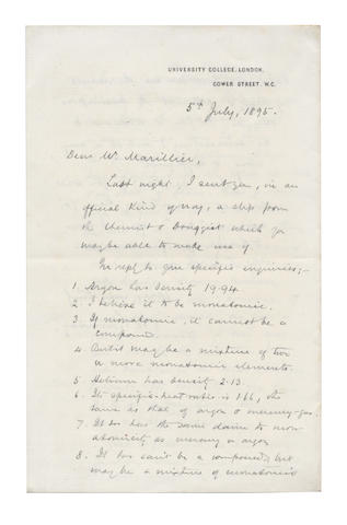 RAMSAY (Sir WILLIAM) Important autograph letter signed ('W. Ramsay'), ABOUT HELIUM AND ARGON, 1895