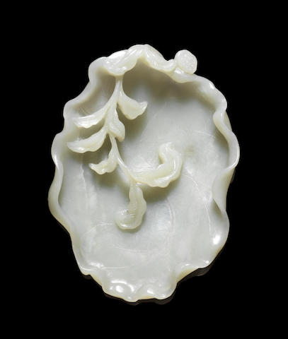 A green jade dish or brushwasher Probably 18th century