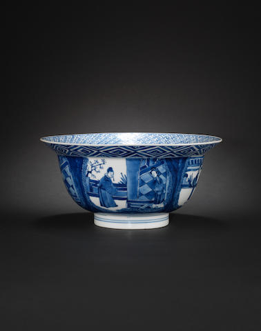 A blue and white bowl Kangxi six-character mark, and of the period