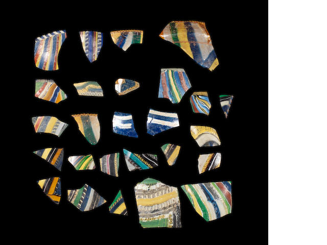 A group of Roman ribbon glass fragments