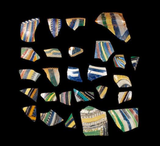 A group of Roman ribbon glass fragments