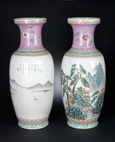 A pair of famille rose vases Zhongguo Jingdezhen five-character marks, 20th century