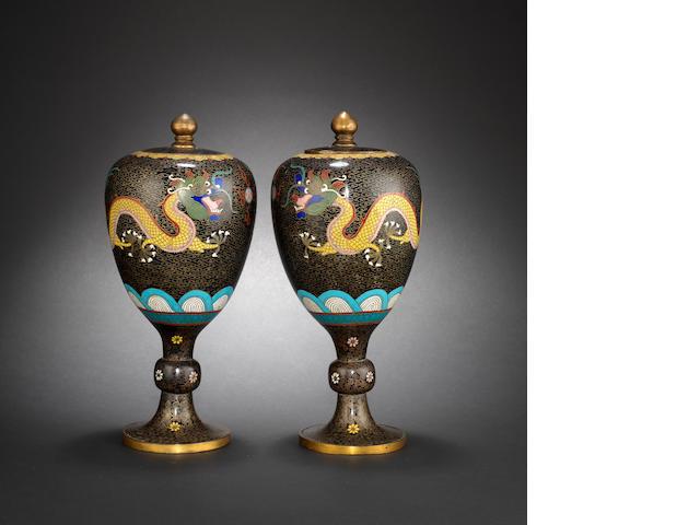 A pair of cloisonne enamel vases