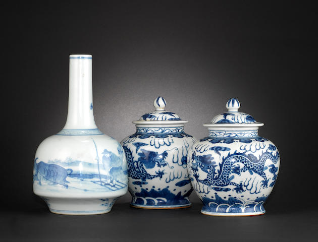 Five blue and white wares