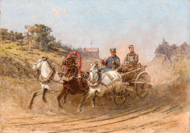 Petr Nikolaevich Gruzinsky (Russian, 1837-1892) Summer troika ride