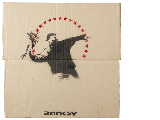 Banksy 'Love is the Air' on cardboard