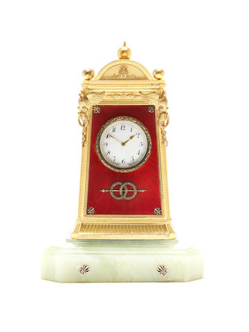 A silver-gilt, enamel and hardstone mantel clockFabergé workmaster Julius Rappoport, St. Petersburg 1899-1908
