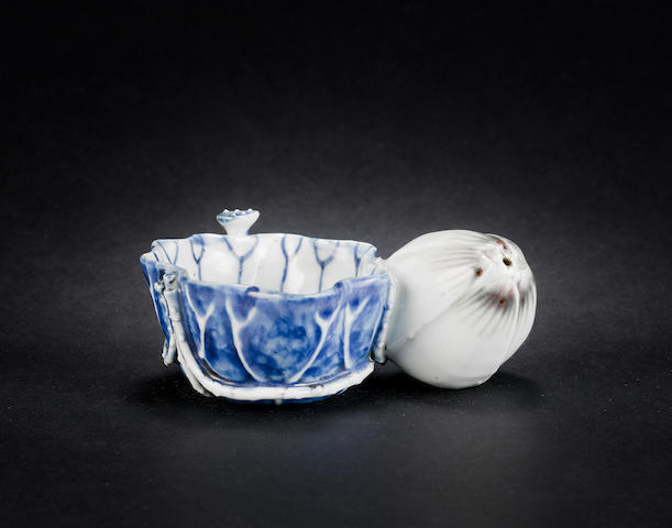 An unusual blue and white and underglaze red washer and water dropper, Kangxi