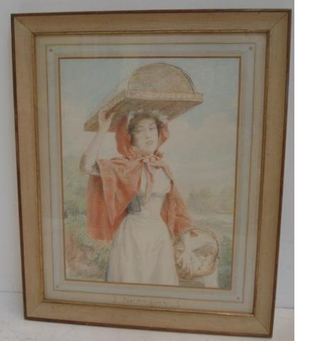 Talbot Hughes, ROI, PS (British, 1869-1942) Eggs and Cream, Eggs and Cream 'A Young Country Girl Going To Market', signed and dated 1905, also three further companions, 'A Fortune', 'My Neighbour' and 'A Persian Idol',  each 30.5 x 23cm,