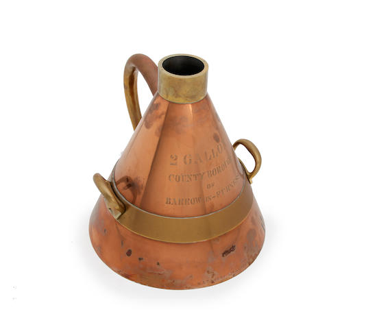 A brass and copper Two Gallon Imperial conical measure, for the County Borough of Barrow-in-FurnessProbably George V (the earliest verification mark for 1920); by W & T Avery Ltd., London