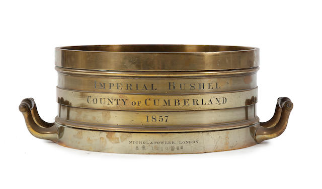 A set of eleven early Victorian brass alloy Imperial measures, for the County of Cumberland, dated 1857by Nichol & Fowler, London
