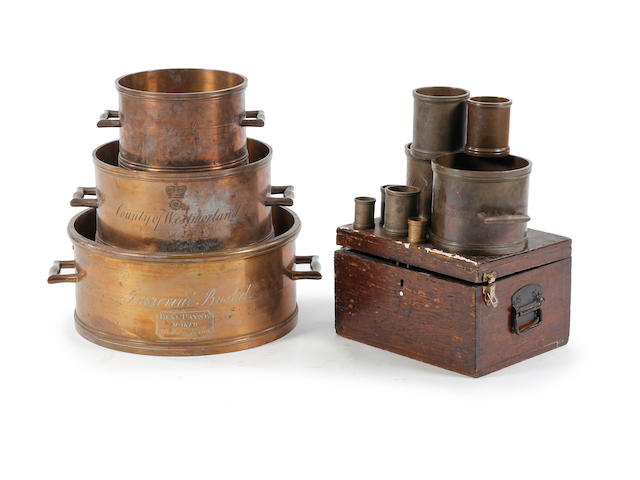A set of eleven George IV Imperial Standard bronze alloy measures, for the County of WestmorlandWith pre-Imperial 'WIIII 1824' verification cipher; by Benjamin Payne, 395 Strand, London