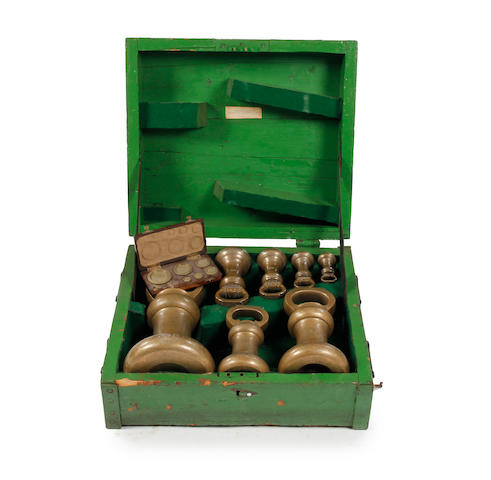 A boxed group of sixteen mid-Victorian brass alloy Imperial Avoirdupois weights, for the Borough of Kendal KK, dated 1876by Nicholl & Fowler, London