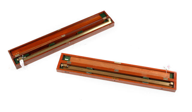 Two early/mid-20th century boxed lacquered brass Standard Yard measures