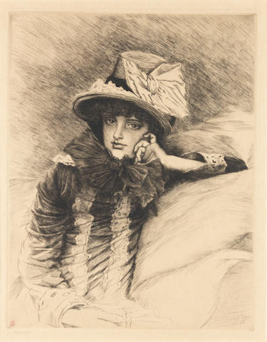 James Jacques Joseph Tissot (French, 1836-1902) Berthe Etching and drypoint, 1883, on wove, signed in pencil lower left, with the artist's red blindstamp, 362 x 279mm (14 1/4 x 11in)(PL)