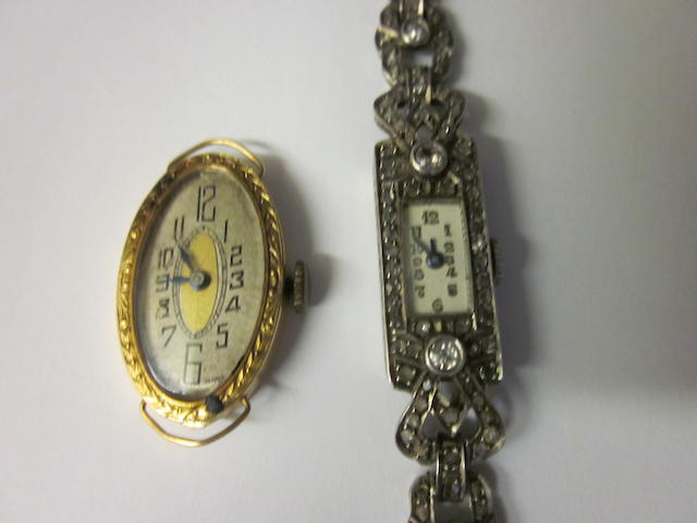 An 18 carat gold lady's oval watch,  (2)