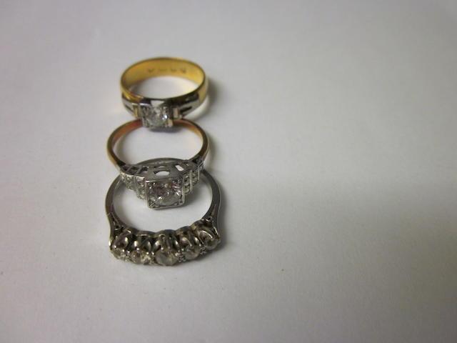 A single stone diamond ring,  (3)