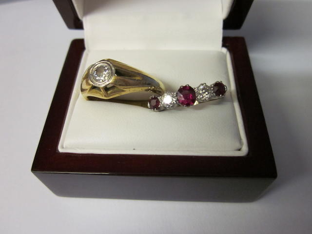 An 18carat gold single stone diamond ring,  (2)