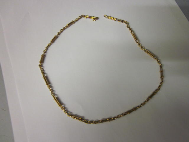 An 18 carat gold paperclip and trace link chain,