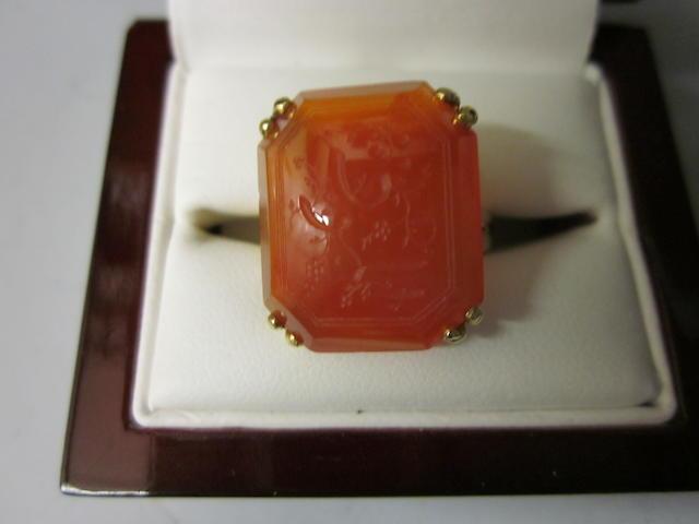 A Victorian Cornelian ring,