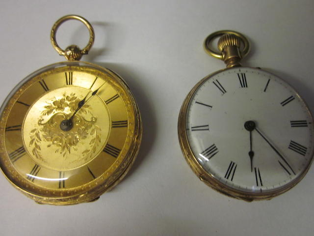 An 18ct gold open faced key wound pocket watch, (2)