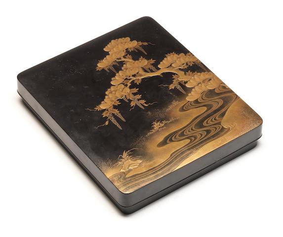 A black lacquer suzuribako (writing box) and cover 18th century