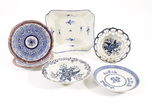 A Caughley dish, a Bow circular stand, a Worcester basket and plate and a pair of Flight and Barr 'Royal Lily' plates, circa 1760-1800