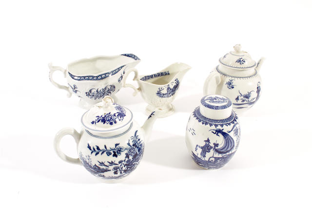 Two Worcester teapots and covers, a sauceboat, a tea canister and cover and a Liverpool cream jug, circa 1760-80