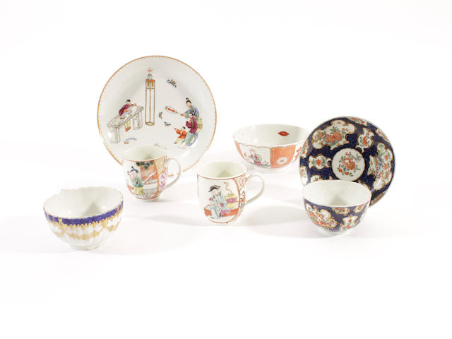 Two Worcester coffee cups, a saucer dish, a sugar bowl, a teabowl and saucer and a teacup, circa 1770-80