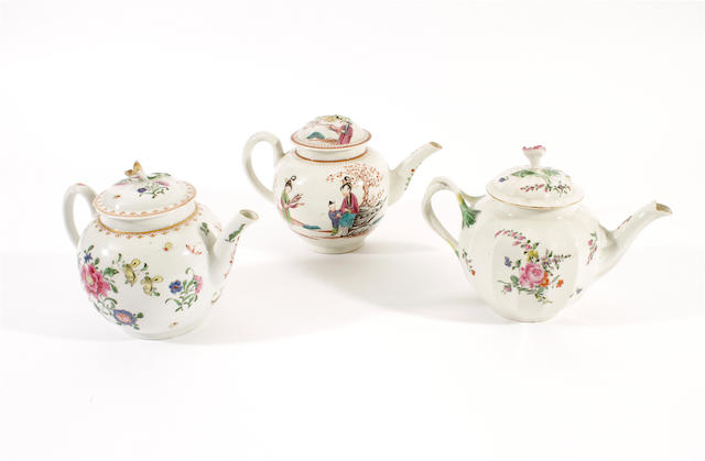 Three Worcester teapots and covers, 18th century