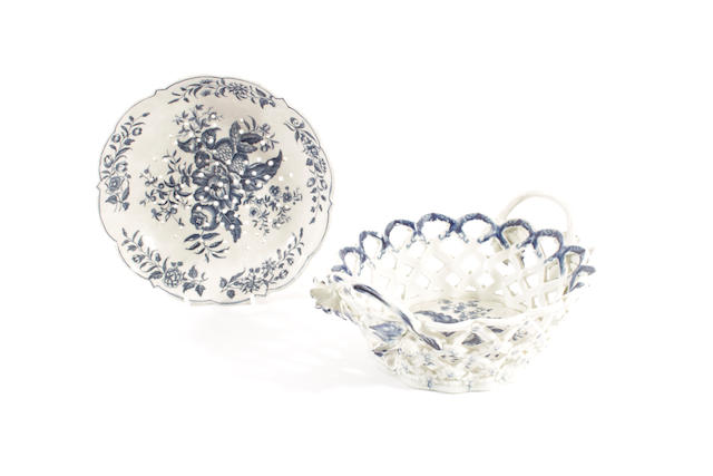 A Worcester oval basket and a cress dish, circa 1770,
