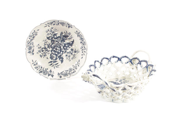 A Worcester oval basket and a cress dish, circa 1770