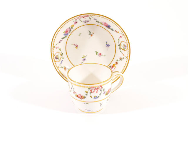 A Sèvres cup and saucer, circa 1782