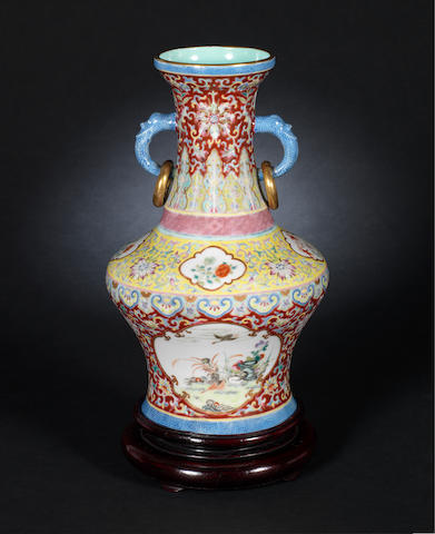 A famille rose vase Daoguang six-character seal mark