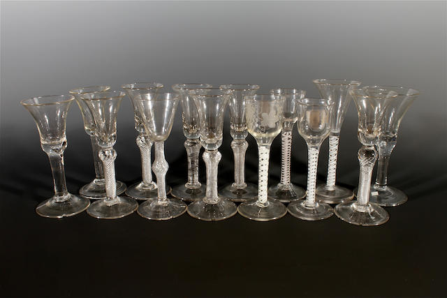 A group of fourteen various wine glasses, 18th century