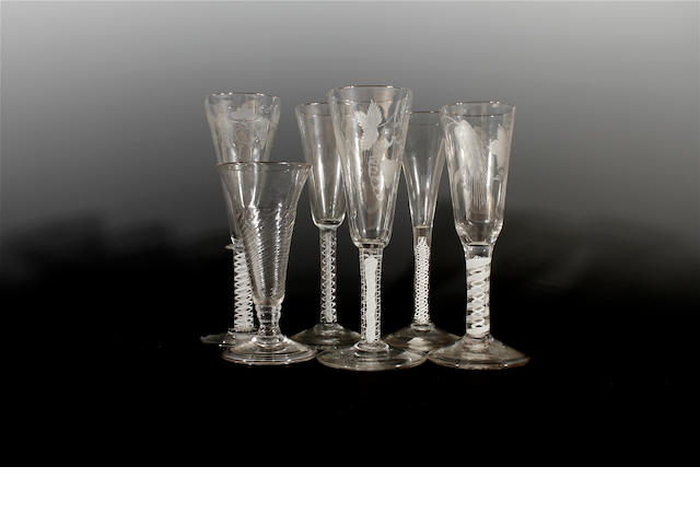 Five ale glasses and a toastmaster's glass, 18th and 19th century