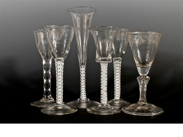 Six wine glasses, 18th century